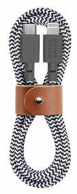 Native Union Belt Cable Wzmocniony Przewód USB-C ze Złączem Lightning ze Skórzanym Zapięciem (1,2 m) (Zebra)
