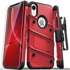 Zizo Bolt Cover Etui Pancerne do iPhone Xr ze Szkłem 9H na Ekran + Podstawka & Uchwyt do Paska (Red & Black)