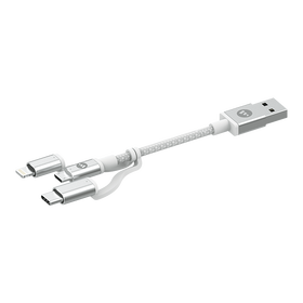 Mophie Przewód USB 3w1 ze Złączami Lightning / USB-C / Micro-USB (1 m) (White)