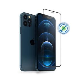 Crong Anti-Bacterial 3D Armour Glass Szkło Hartowane 9H na Cały Ekran do iPhone 12 Pro / iPhone 12 + Ramka Instalacyjna