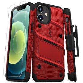 Zizo Bolt Cover Etui Pancerne do iPhone 12 Mini ze Szkłem 9H na Ekran + Podstawka & Uchwyt do Paska (Red & Black)