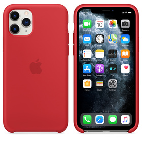 Apple Silicone Case Oryginalne Silikonowe Etui do iPhone 11 Pro (Czerwony) (Product) Red