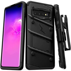 Zizo Bolt Cover Etui Pancerne do Samsung Galaxy S10+ Plus oraz Podstawka & Uchwyt do Paska (Black/Black)