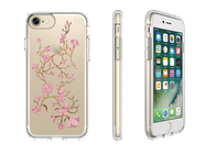 SPECK PRESIDIO CLEAR WITH PRINT - ETUI POKROWIEC - IPHONE 7 (GOLDENBLOSSOM PINK / CLEAR)
