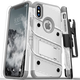 Zizo Bolt Cover Etui Pancerne do iPhone Xs / X (White/Gray) + Szkło Hartowane Na Ekran