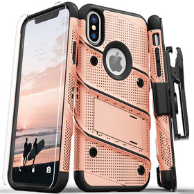Zizo Bolt Cover Etui Pancerne do iPhone Xs / X (Rose Gold/Black) + Szkło Hartowane Na Ekran