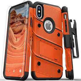 Zizo Bolt Cover Etui Pancerne do iPhone Xs / iPhone X ze Szkłem 9H na Ekran + Podstawka & Uchwyt do Paska (Orange/Black)