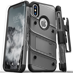 Zizo Bolt Cover Etui Pancerne do iPhone Xs / X (Gun Metal Gray) + Szkło Hartowane Na Ekran