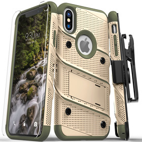 Zizo Bolt Cover Etui Pancerne do iPhone Xs / iPhone X ze Szkłem 9H na Ekran + Podstawka & Uchwyt do Paska (Desert Tan & Camo Green)