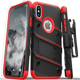 Zizo Bolt Cover Etui Pancerne do iPhone Xs / X (Black/Red) + Szkło Hartowane Na Ekran