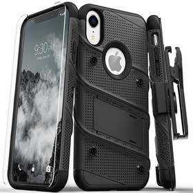 Zizo Bolt Cover Etui Pancerne do iPhone Xr (Black/Black) + Szkło Hartowane Na Ekran