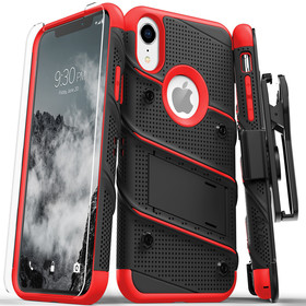 Zizo Bolt Cover Etui Pancerne do iPhone Xr (Black/Red) + Szkło Hartowane Na Ekran