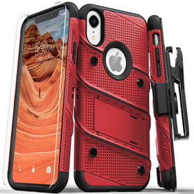 Zizo Bolt Cover Etui Pancerne do iPhone Xr (Red/Black) + Szkło Hartowane Na Ekran