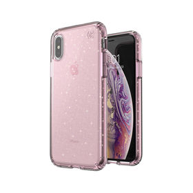 Speck Presidio Clear With Glitter Etui Brokatowe iPhone Xs / X (Gold Glitter/Bella Pink)