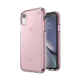 Speck Presidio Clear With Glitter Etui Brokatowe iPhone Xr (Gold Glitter/Bella Pink)