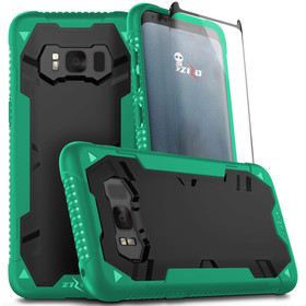 Zizo Proton Case Etui Pancerne do Samsung Galaxy S8+ Plus (Emerald Green/Solid Black) + Szkło Hartowane Na Ekran