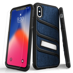 (EOL) Zizo Bolt X Series Etui Pancerne do iPhone Xs / iPhone X ze Szkłem 9H na Ekran + Podstawka (Dark Blue/Black)