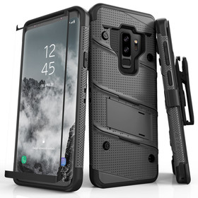 Zizo Bolt Cover Etui Pancerne do Samsung Galaxy S9+ Plus ze Szkłem 9H na Ekran + Podstawka & Uchwyt do Paska (Gun Metal Gray & Black)