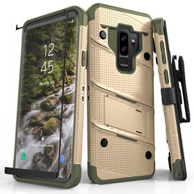 Zizo Bolt Cover Etui Pancerne do Samsung Galaxy S9+ Plus ze Szkłem 9H na Ekran + Podstawka & Uchwyt do Paska (Desert Tan & Camo Green)