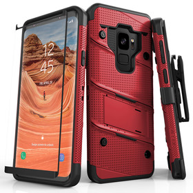 Zizo Bolt Cover Etui Pancerne do Samsung Galaxy S9 (Red/Black) + Szkło Hartowane Na Ekran
