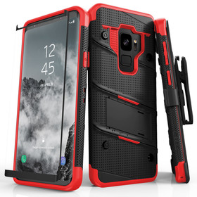 Zizo Bolt Cover Etui Pancerne do Samsung Galaxy S9 (Black/Red) + Szkło Hartowane Na Ekran