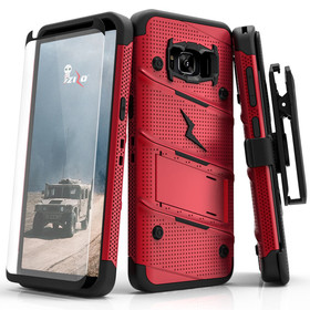 Zizo Bolt Cover Etui Pancerne do Samsung Galaxy S8+ Plus (Red/Black) + Szkło Hartowane Na Ekran