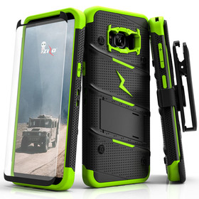 Zizo Bolt Cover Etui Pancerne do Samsung Galaxy S8+ Plus ze Szkłem 9H na Ekran + Podstawka & Uchwyt do Paska (Black/Neon Green)