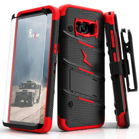 Zizo Bolt Cover Etui Pancerne do Samsung Galaxy S8 (Black/Red) + Szkło Hartowane Na Ekran