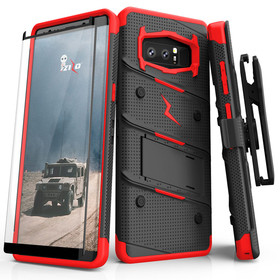Zizo Bolt Cover Etui Pancerne do Samsung Galaxy Note 8 ze Szkłem 9H na Ekran + Podstawka & Uchwyt do Paska (Black/Red)
