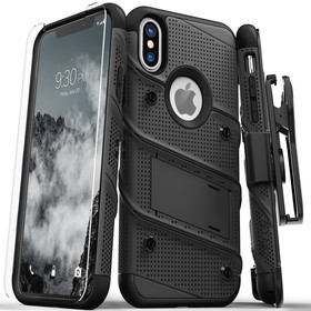 Zizo Bolt Cover Etui Pancerne do iPhone Xs Max (Black/Black) + Szkło Hartowane Na Ekran
