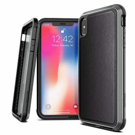 X-Doria Defense Lux Etui Aluminiowe do iPhone Xs / X (Black Leather) (Drop Test 3m)