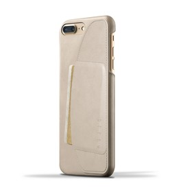 Mujjo Full Leather Wallet Etui Skórzane Na Karty do iPhone 8 Plus / 7 Plus (Champagne)