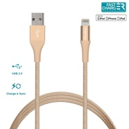 Puro Braided Cable Kabel USB Lighting MFI 1m + Klips (Gold)