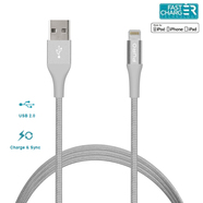 Puro Braided Cable Kabel USB Lighting MFI 1m + Klips (Silver)