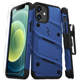 Zizo Bolt Cover Etui Pancerne do iPhone 12 Mini ze Szkłem 9H na Ekran + Podstawka & Uchwyt do Paska (Blue & Black)