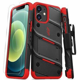 Zizo Bolt Cover Etui Pancerne do iPhone 12 Mini ze Szkłem 9H na Ekran + Podstawka & Uchwyt do Paska (Black & Red)