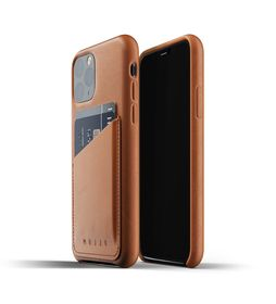 Mujjo Full Leather Wallet Case Etui Skórzane na Karty do iPhone 11 Pro (Tan)
