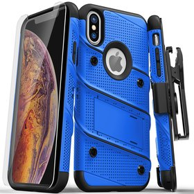 Zizo Bolt Cover Etui Pancerne do iPhone Xs / iPhone X ze Szkłem 9H na Ekran + Podstawka & Uchwyt do Paska (Blue/Black)