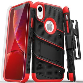 Zizo Bolt Cover Etui Pancerne do iPhone Xr ze Szkłem 9H na Ekran + Podstawka & Uchwyt do Paska (Black/Red)