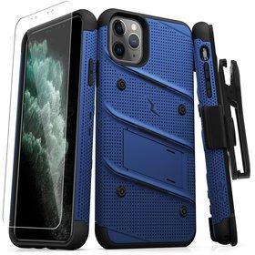 (EOL) Zizo Bolt Cover Etui Pancerne do iPhone 11 Pro Max ze Szkłem 9H na Ekran + Podstawka & Uchwyt do Paska (Blue & Black)