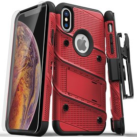 Zizo Bolt Cover Etui Pancerne do iPhone Xs / iPhone X ze Szkłem 9H na Ekran + Podstawka & Uchwyt do Paska (Red/Black)