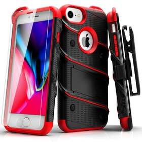 Zizo Bolt Cover Etui Pancerne do iPhone 8 / iPhone 7 / iPhone 6S / iPhone 6 ze Szkłem 9H na Ekran + Podstawka & Uchwyt do Paska (Black & Red)