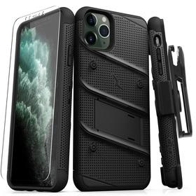 Zizo Bolt Cover Etui Pancerne do iPhone 11 Pro Max ze Szkłem 9H na Ekran + Podstawka & Uchwyt do Paska (Black/Black)