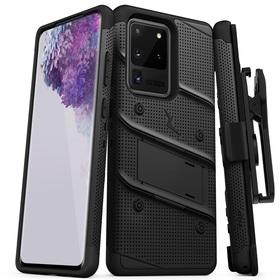 Zizo Bolt Cover Etui Pancerne do Samsung Galaxy S20 Ultra oraz Podstawka & Uchwyt do Paska (Black & Black)