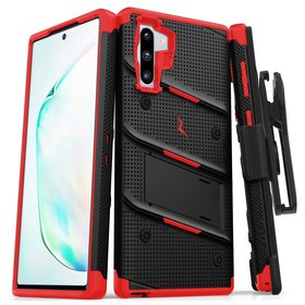 Zizo Bolt Cover Etui Pancerne do Samsung Galaxy Note 10 + Podstawka & Uchwyt do Paska (Black & Red)