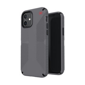 Speck Presidio2 Grip Etui Ochronne do iPhone 12 Pro / iPhone 12 z Powłoką Microban (Graphite Grey/Graphite Grey/Bold Red)