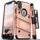 Zizo Bolt Cover Etui Pancerne do iPhone Xs / iPhone X ze Szkłem 9H na Ekran + Podstawka & Uchwyt do Paska (Rose Gold/Black)