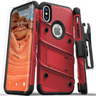Zizo Bolt Cover Etui Pancerne do iPhone Xs / X (Red/Black) + Szkło Hartowane Na Ekran