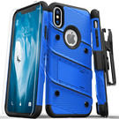 Zizo Bolt Cover Etui Pancerne do iPhone Xs / X (Blue/Black) + Szkło Hartowane Na Ekran