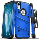 Zizo Bolt Cover Etui Pancerne do iPhone Xr (Blue/Black) + Szkło Hartowane Na Ekran